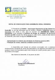 EDITAL DE CONVOCAÇÃO PARA ASSEMBLÉIA GERAL ORDINÁRIA.