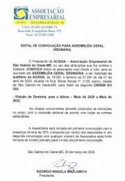 ASSEMBLEIA GERAL ORDINARIA ELEIÇÃO DIRETORIA BIÊNIO 2020/2022