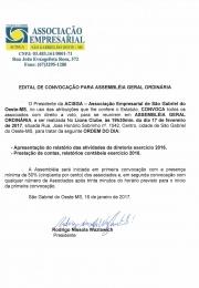 EDITAL DE CONVOCAÇÃO DA ASSEMBLEIA 2017