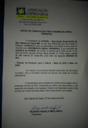 EDITAL DE CONVOCAÇÃO PARA ASSEMBLEIA GERAL ORDINARIA